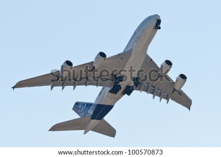 ZHUKOVSKY, RUSSIA - AUG 19: The Airbus A380 on display at International aviation and space salon MAKS 2011 on August 19, 2011 in Zhukovsky, Russia - stock photo