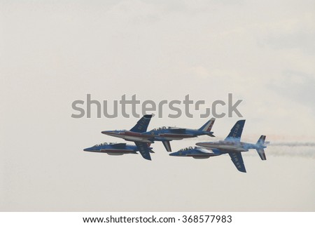 """ZHUKOVSKY, RUSSIA - AUG 24, 2007: The jets of the French aerobatic team """"Patrouille de France"""" at MAKS-2007 - stock photo"""