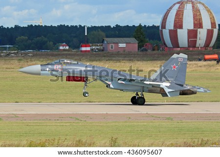 ZHUKOVSKY, RUSSIA - AUG 27, 2015: The Sukhoi Su-35 (Flanker-E?+) is a Russian perspective multi-role fighter of 4++ generation at the International Aviation and Space salon MAKS-2015 - stock photo