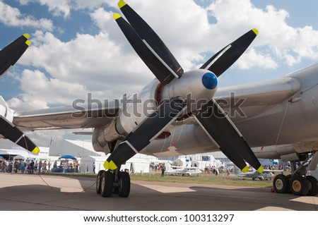 ZHUKOVSKY, RUSSIA - AUG 19: The Tupolev Tu-95 soviet turboprop strategic bomber  on display at International aviation and space salon MAKS 2011 on August 19, 2011 in Zhukovsky, Russia - stock photo