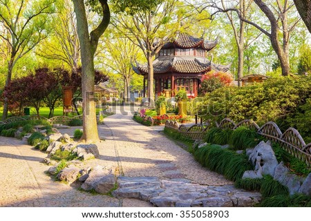 Zhuozhengyuan Park scenery. The Park is one of Chinese classical gardens in Suzhou City. Suzhou is one of the old water-towns in China. There are a lot of famous chinese classical gardens in Suzhou. - stock photo