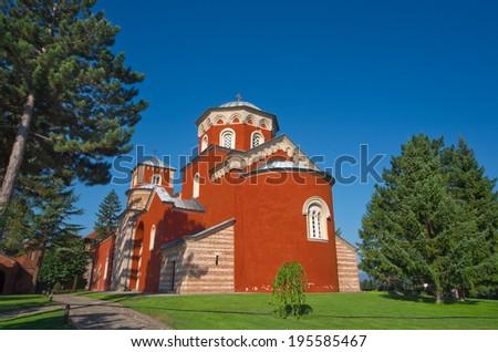 Zica Orthodox Monastery in Kraljevo, Serbia - stock photo