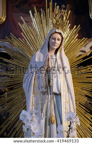 ZIEMETSHAUSEN, GERMANY - JUNE 09: Our Lady of Fatima, Maria Vesperbild Church in Ziemetshausen, Germany on June 09, 2015. - stock photo