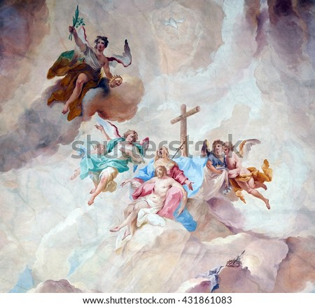 ZIEMETSHAUSEN, GERMANY - JUNE 09: Our Lady of Sorrows with angels and Saints, fresco on the ceiling of the Maria Vesperbild Church in Ziemetshausen, Germany on June 09, 2015. - stock photo