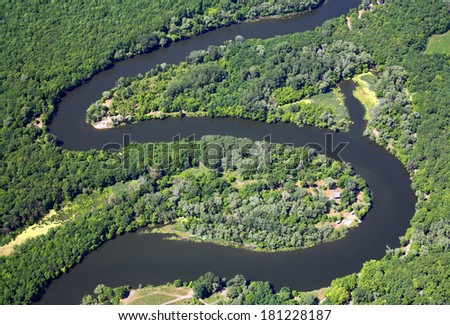 Zigzag river. Aerial view. - stock photo