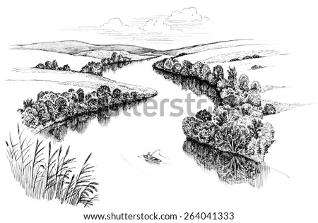 Zigzag river flows between summer valleys, ink drawing - stock photo
