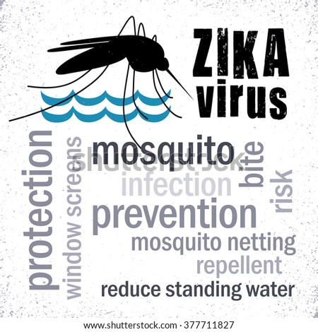Zika Virus, mosquito over standing water, grunge graphic illustration, prevention, protection, infection word cloud.  - stock photo