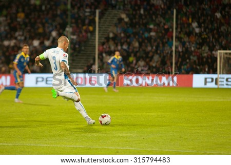 Zilina, Slovakia -  SEPTEMBER 8: Martin Skrtel - slovak national soccer team player  during a UEFA EURO 2016   Slovakia - Ukraine match on September 8, 2015 in Zilina, Slovakia. - stock photo