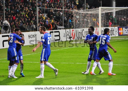 ZILINA, SLOVAKIA - SEPTEMBER 15: MSK Zilina vs Chelsea FC after goal of Chelsea at the match of European Champions League on September 15, 2010 in Zilina, Slovakia. - stock photo