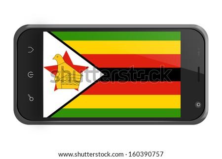 Zimbabwe flag on smartphone screen isolated on white - stock photo