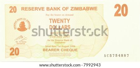 Zimbabwean 20 dollar note - obverse - stock photo