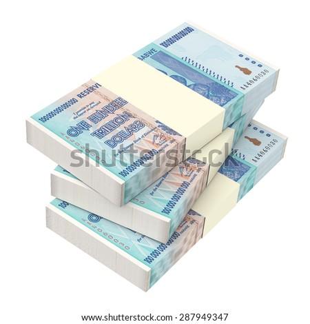 Zimbabwean money isolated on white background. Computer generated 3D photo rendering. - stock photo