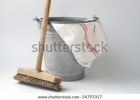 zinc bucket with floor cloth and floor brush - stock photo