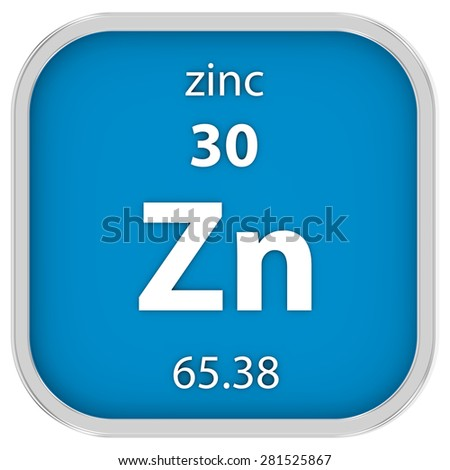 Zinc material on the periodic table. Part of a series. - stock photo