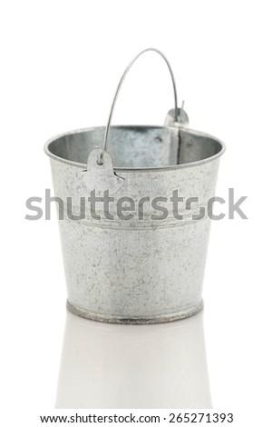 Zinc metal bucket isolated on white background isolate - stock photo