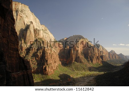 Zion Canyon in evening light - stock photo