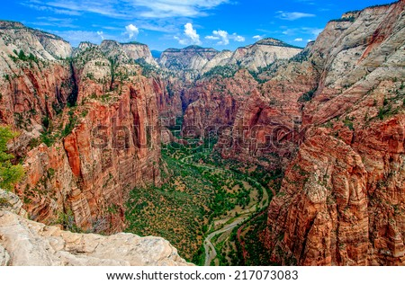 Zion Canyon, with the virgin river, from above and Angels Landing, USA - stock photo