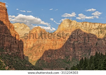 Zion National Park At Sunset - stock photo
