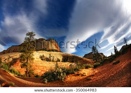 Zion National Park early morning scene with dramatic sunrise light and blue sky clouds - stock photo