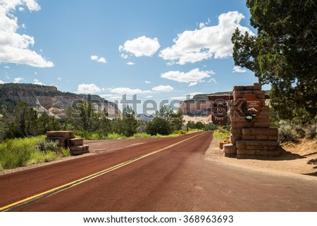 Zion National Park entrance sign - stock photo