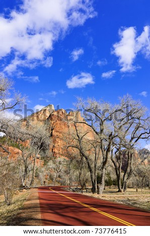 Zion National Park road in spring (Utah, USA) - stock photo