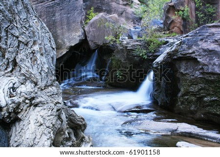 Zion subway waterfalls - stock photo