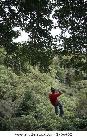 Zip Line in Costa Rican Jungle - stock photo
