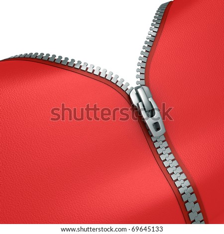 zipper 3d illustration - stock photo