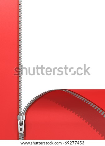 zipper isolated on white - stock photo