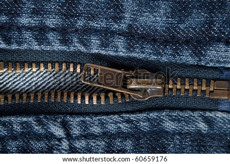 zipper on jeans. macro - stock photo