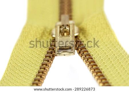 Zipper on white background  - stock photo