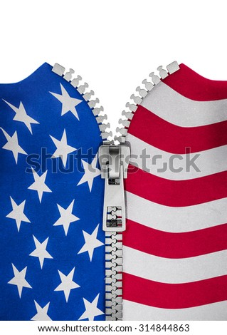Zippered USA flag / 3D render of American flag split with zipper - stock photo