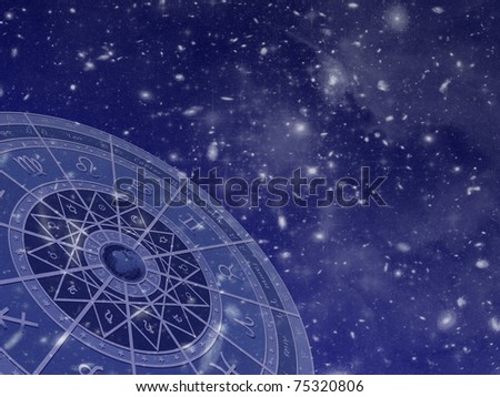 Zodiac circle overlaid on star field photos taken by the Hubble telescope. - stock photo