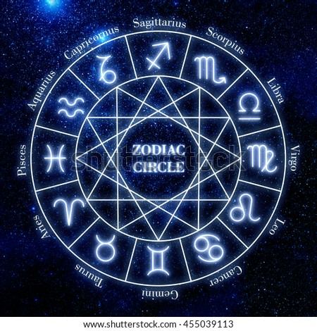 Zodiac circle. Shining zodiac signs against  space sky and stars. - stock photo