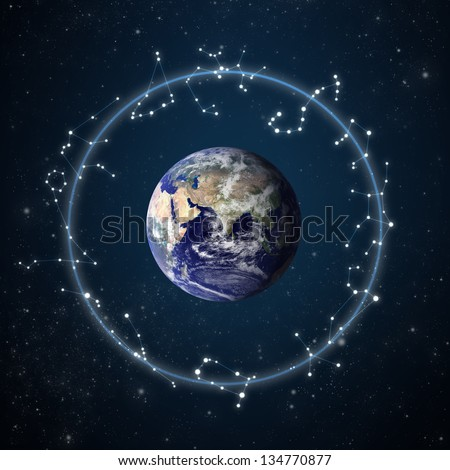 """zodiac constellations with starry sky background """"Elements of this image furnished by NASA"""" - stock photo"""