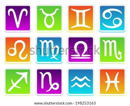 Zodiac horoscope symbols set - stock photo