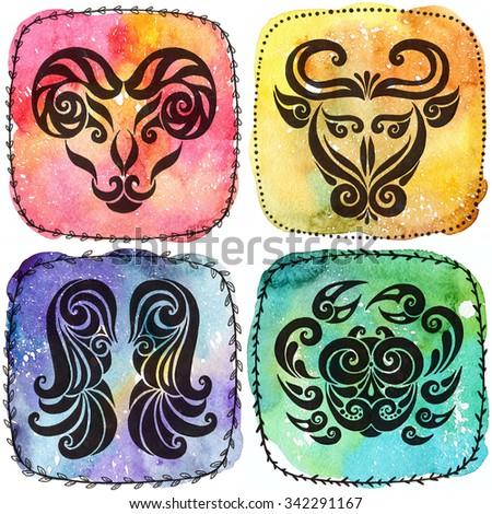 Zodiac icons. Set. Watercolor. Aries, Taurus, Gemini, Cancer. Horoscope collection. - stock photo