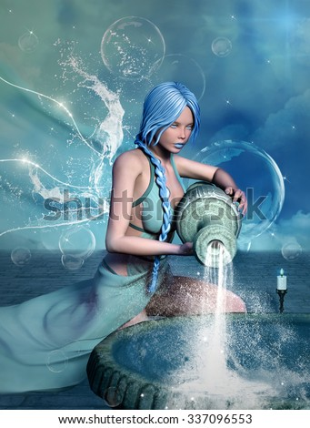 Zodiac series - Aquarius like a beautiful girl - stock photo