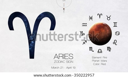 Zodiac sign - Aries. Cool astrologic infographics. Elements of this image furnished by NASA - stock photo