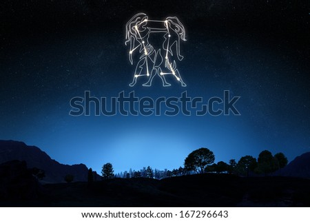 Zodiac Sign Gemini with a star and symbol outline on a gradient sky background . Part of a Zodiac series - stock photo