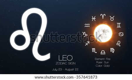 Zodiac sign - Leo. Cool astrologic infographics. Elements of this image furnished by NASA - stock photo