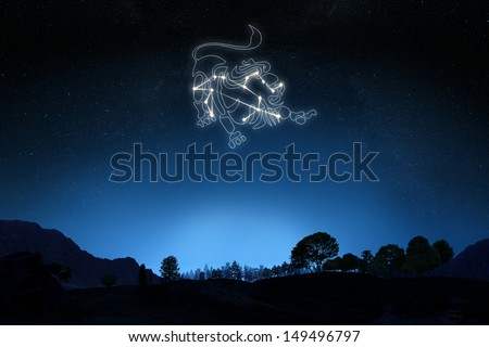 Zodiac Sign Leo with a star and symbol outline on a gradient sky background. Part of a Zodiac series. - stock photo