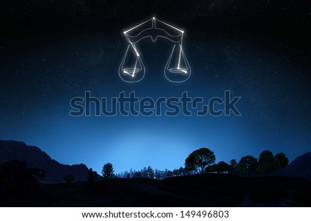 Zodiac Sign Libra with a star and symbol outline on a gradient sky background. Part of a Zodiac series. - stock photo