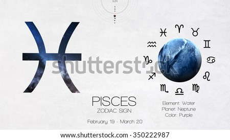 Zodiac sign - Pisces. Cool astrologic infographics. Elements of this image furnished by NASA - stock photo