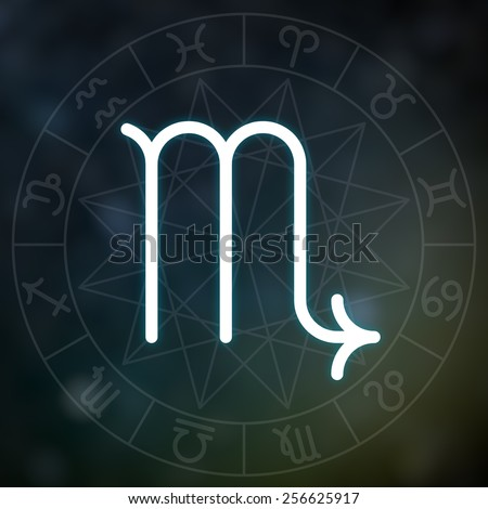 Zodiac sign - Scorpio. White thin simple line astrological symbol on blurry abstract space background with astrology chart. - stock photo