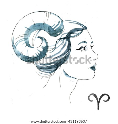 zodiac sign, watercolor illustration of woman,Aries - stock photo