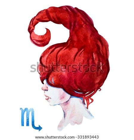 zodiac sign, watercolor illustration of woman,Scorpio - stock photo