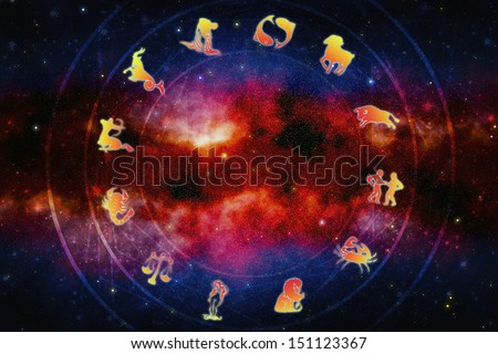 zodiac signs over magic background with stars - stock photo
