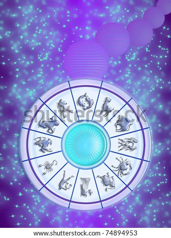 Zodiac wheel isolated on the sky, stars and planets stylized. the twelve signs of the zodiac - stock photo