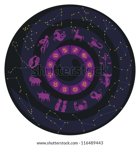 Zodiac wheel with constellations and symbols - stock photo